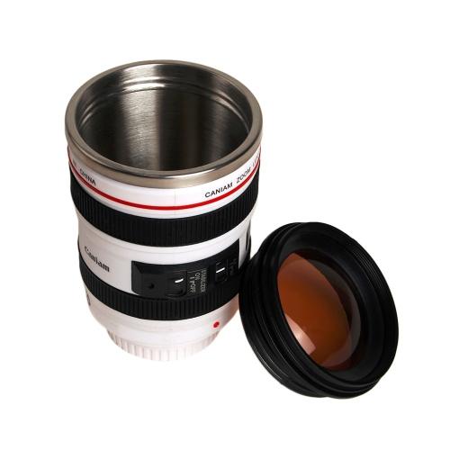 DIY нержавеющей стали Вакуумные колбы Путешествия Кофейная кружка камеры объектив Кубок