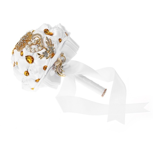 Браслет с бриллиантами ручной работы с бриллиантом 18см с бриллиантовым искусственным жемчугом, украшенным невесты Свадебные принадлежности - белый и золотой