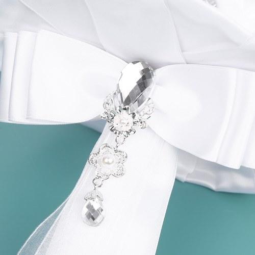 18см ручной свадебный букет Rhinestone свадебный букет атласная роза цветок для невесты свадьбы поставок - белый фото