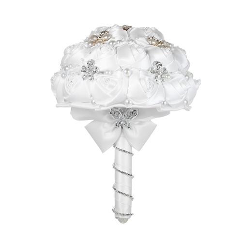 18см ручной свадебный букет Rhinestone свадебный букет атласный розовый цветок с искусственным жемчугом, украшенный для невесты Свадебные принадлежности - белый фото