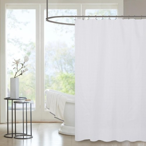 Htovila 72 * 72 '' Полиэстер Водонепроницаемый мягкий занавес для душа Декоративная защита конфиденциальности Занавеска для ванной комнаты с крючками 12шт - Серый цвет