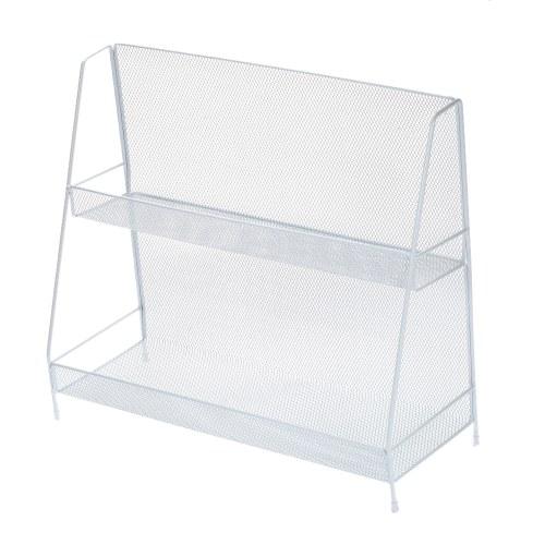 2-Tier Basket Storage Organizer Metal Mesh