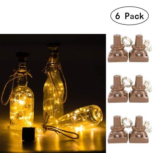 6 Packs 20 LEDs Waterproof Square Cork Lights Fairy Lights Solar Powered Wine Bottle Lights