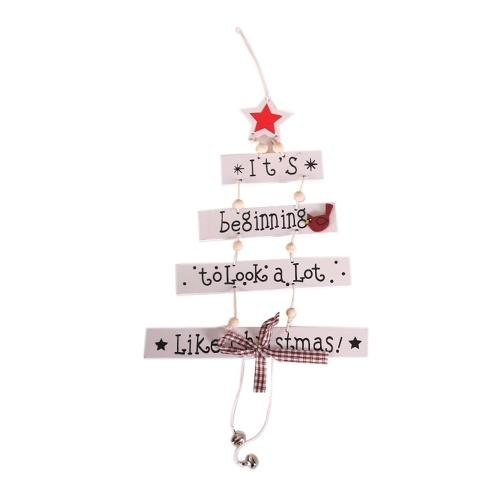 New Christmas Ornaments Holzanhänger Weihnachtsbaumförmiges fünfzackiges Sternchenmuster