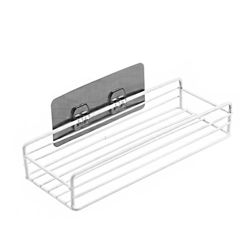 Metal Wire Punch-Free Wall Hanging Mounted Spice Rack Storage Shelf Basket Space Saver with 1 Sticky Hook for Bathroom Kitchen