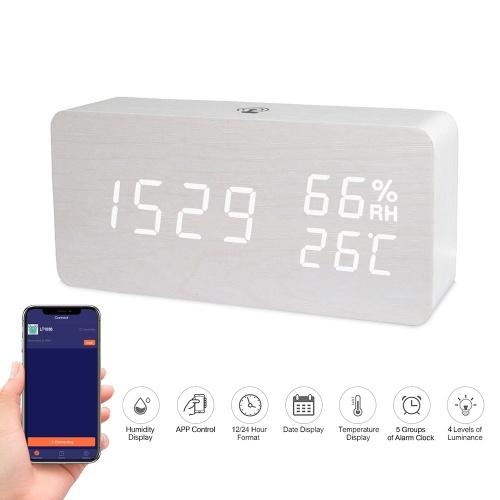 LED Reloj despertador digital de madera Control de aplicaciones Tiempo / Temperatura / Humedad / Fecha Pantalla Reloj electrónico de escritorio 4 niveles Brillo Control de sonido Carga USB o suministro de batería