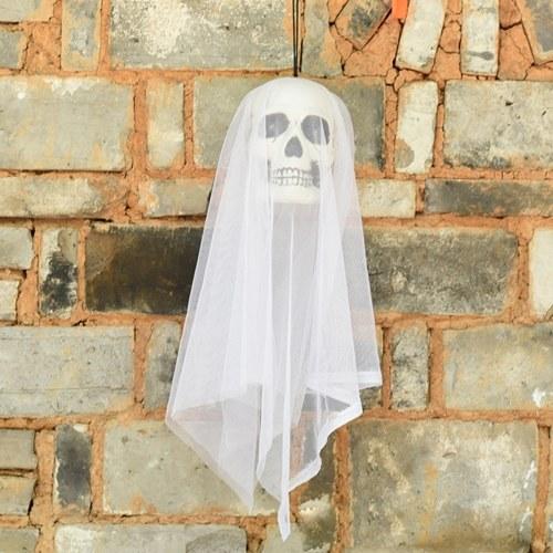 23 pulgadas Halloween Ghost Decoración colgante Scary Creepy Flying Skull Ghost con luz LED Adorno de ojos Regalo de Halloween para interior al aire libre Fiesta de Halloween Festivales Decoración
