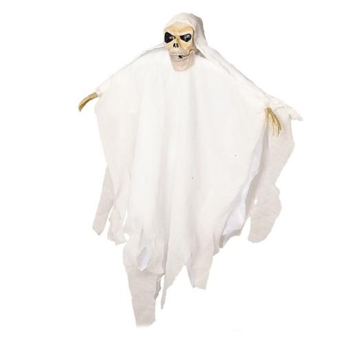 21 pulgadas Halloween Ghost Decoración colgante Control de voz Scary Creepy Flying Skull Ghost con luz LED roja Adorno de ojos Regalo de Halloween para interior al aire libre Fiesta de Halloween Festivales Decoración