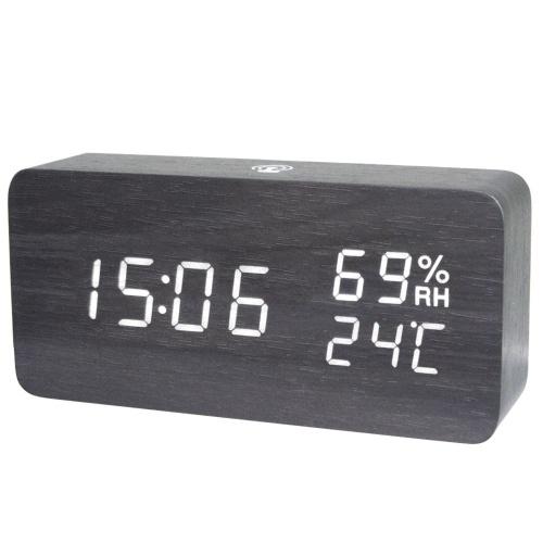 Despertador de madera digital LED