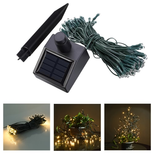 17M 100 LED Solar Outdoor Garden Lamp White Fairy String Light for Party Wedding Christmas Home Room Decor Gift