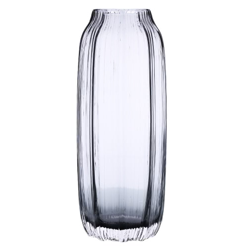 CASAMOTION 31cm Hand Blown Modern Ribbed Design Glass Vase Home Art Decoration Floral Arrangements Straight Shape