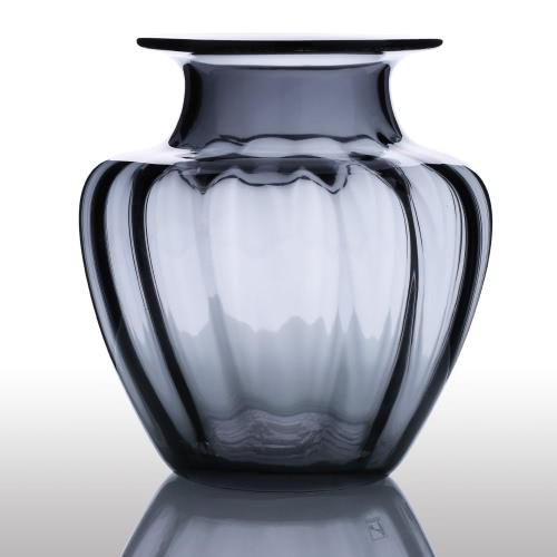 CASAMOTION Modern Hand Blown Jar Shaped Glass Vase Ribbed Design Home Art Decoration Floral Arrangements