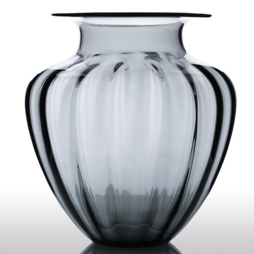 CASAMOTION Modern Hand Blown Large Jar Shaped Glass Vase Ribbed Design Home Art Decoration Floral Arrangements
