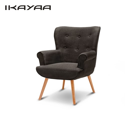 iKayaa Contemporary Linen Fabric Tufted Accent Chair Armchair Padded Living Room Club Chair Upholstered Wing Back Occasional Chair for Hotel Bedroom