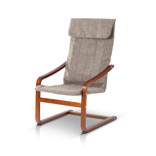 iKayaa Contemporary Reclining Bentwood Chair 286LB Capacity Natural Birch Wood Lounge Chair Comfortable Armchair