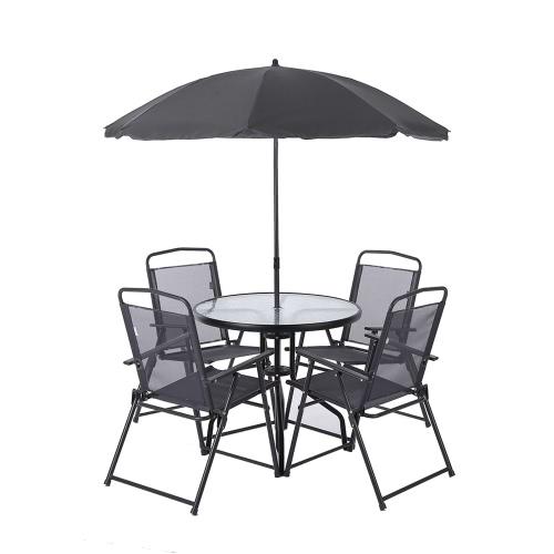 iKayaa 6PCS Outdoor Patio Dining Furniture Set W/ Tilt Umbrella Metal Garden Dining Table Chairs Folding Design