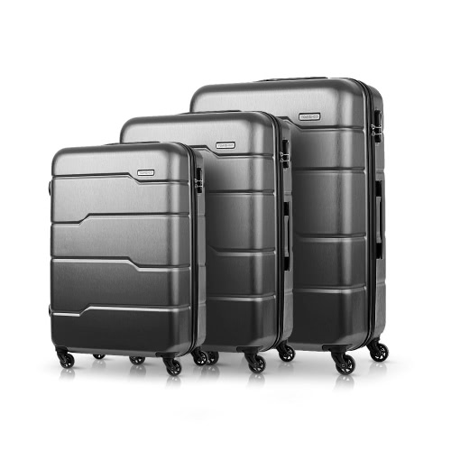 "TOMSHOO Luxury 3PCS Spinner Bagagli Set Shell Hard 20 ""/ 24"" / 28 ""Carry-on Valigia PC + ABS Trolley W / Combination Lock"