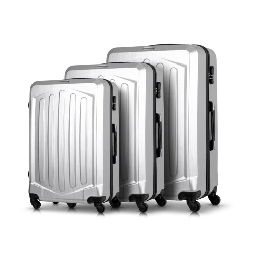 """TOMSHOO Ensemble de bagage de luxe 3PCS Spinner Hard Shell 20 """"24"""" 28 """"Carry On Suitcase Trolley ABS + PC W / Combination Lock"""