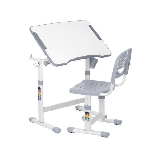 IKayaa Высота Регулируемый кабинет для детей и стул Набор 0-40 ° Наклоняемый Детский артикул Настольный набор Рабочий стол Металлическая рама