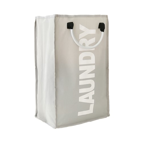 Practical Foldable Laundry Bag Washing Dirty Clothes Laundry Basket Durable Storage Bag with Alloy Handle--Gray