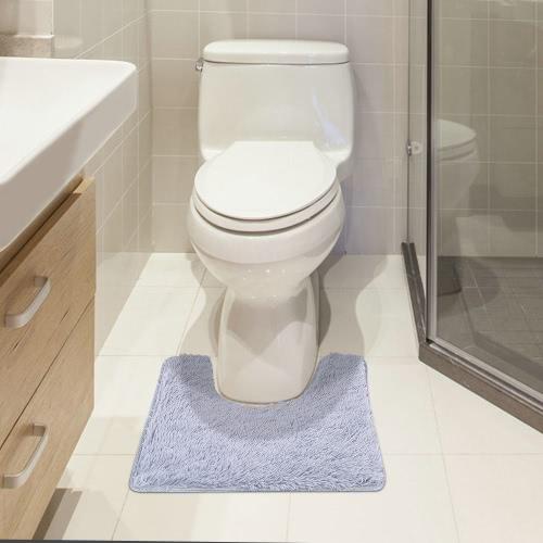 50 * 60cm U-shaped Soft Plush Bathroom Rug Non-slip Water Absorbent Shaggy Shower Mat Bathmat Bath Toilet Rug Grey