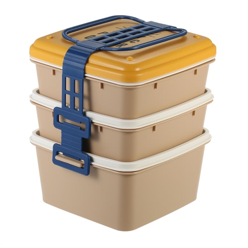 3-Layer High-end Mini Portable Lunch Box Stylish Durable Lunchbox Good Quality Picnic Box Food Container with 3 Plate