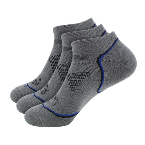 3 Pairs Men's Breathable Cotton Low Cut No Show Boat Socks Running Cycling Sport Athletic Ankle Socks for US 7.5-9.5 / UK 6.5-8.5 / European 40-44--Blue