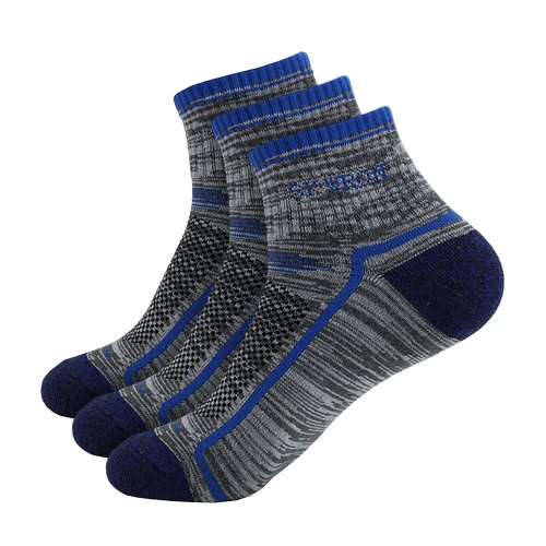 3 Pairs Men's Breathable Cotton Outdoor Sports Athletic Socks Running Hiking Climbing Ankle Socks for US 7.5-9.5 / UK 6.5-8.5 / European 40-44--Light Blue