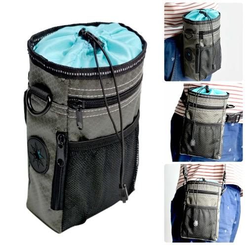 Держатель сумки для мешочек для собак с защитным замком (Poop) Диспенсер для мешков 3 Wear Ways (пояс для поясницы / клипса / плечевой ремень) для тренировки Walking Dog Toys Treats Kibble