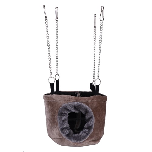 Warm Pet Hammock Hanging Snuggle Cave Nest Hut Toy with Chains for Bird Parrot Hamster Squirrel Chinchilla Guinea Pig Rat Mice