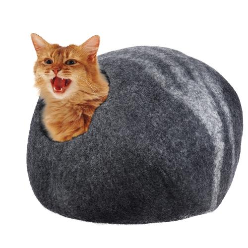 Handcrafted Felted Wool Pet Cat Cave Bed Nest Мягкая удобная для больших кошек и котят