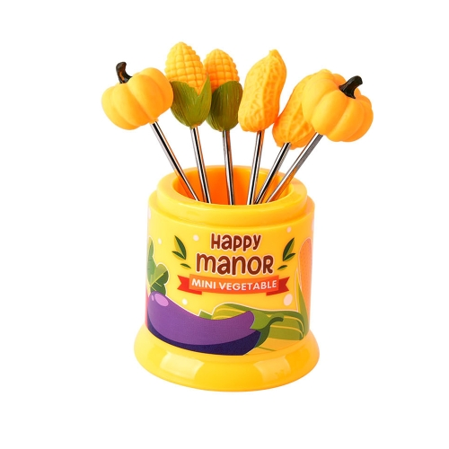 6Pcs Happy Manor Food Fruit Fork Set Party Cake Salad Vegetable Forks Dessert Picks Table Decor Tools Bento Accessories