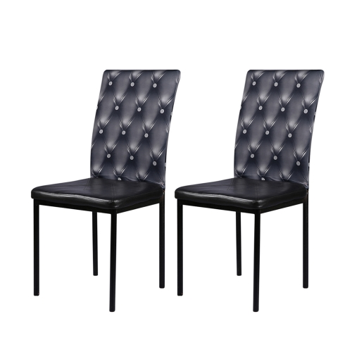 2pcs 3D Printing Spandex Stretchable Dining Chair Seat Back Covers Ceremony Chair Slipcovers Protectors Wedding Events Decoration--Grey