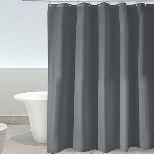 Htovila 72 * 72 '' Poliéster impermeable a prueba de moho cortina de ducha decoración decorativa privacidad cortina de baño con 12pcs ganchos - gris