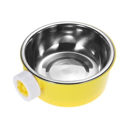 Собака-кошка Хомяк-клетка Висячие чаши Нескользкий питатель Вода Пищевой питатель Чаша Нержавеющая сталь и пластиковая тарелка