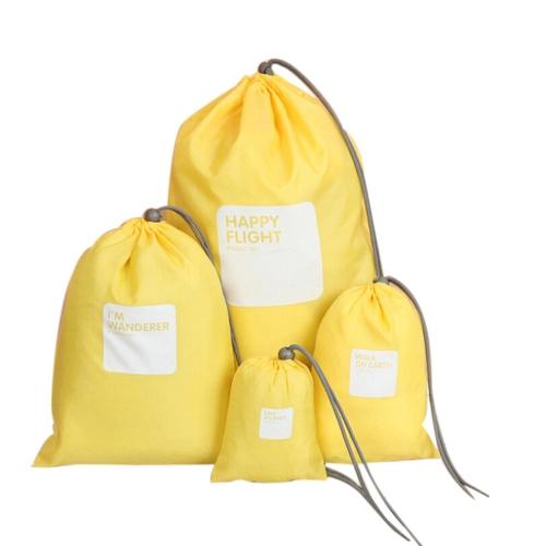 4pcs / lot Set Travel Storage Bag Водонепроницаемая сумка-сумка из нейлоновой сумки и женщин Складная одежда Классифицированные организаторы Упаковка Обувь Сумки для багажа (желтый)