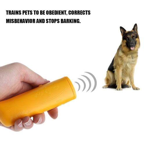 3 в 1 Anti Barking Stop Bark Device Портативный портативный ультразвуковой питомец Отпугиватель управления Обучение тренер тренер со светодиодной желтый