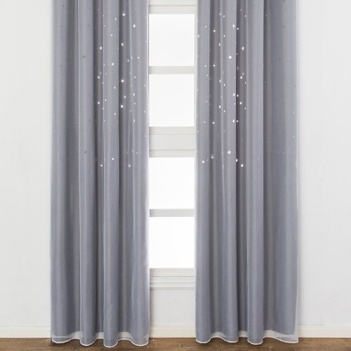 Blackout Curtains Star Shape Hollow Double Layer Cloth