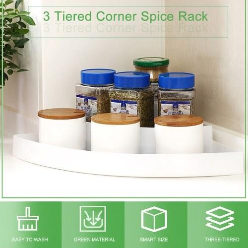 3 Tiered Corner Spice Rack Organizer Non-skid Corner Pantry Organizer and Storage for Kitchen Refrigerator Bathroom Craft Room