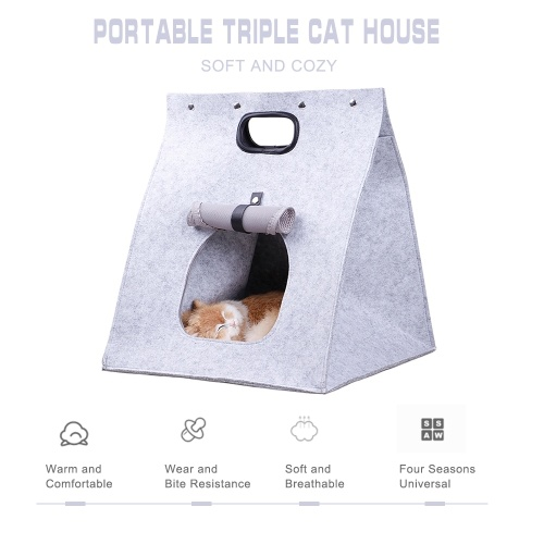 Pet Houses for Cats Indoor Cozy Cat Cave Portable Cat Carrier Handbag w/ Breathable Mesh Window Cat Bed