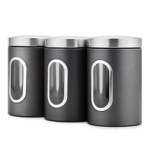 3 juegos de frascos de almacenamiento con tapa, frascos de galletas de 1,5 l, contenedor de almacenamiento de alimentos de acero inoxidable para cereales de té, frutas secas