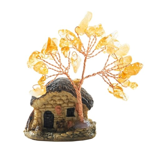 House Model Copper Wire Crystal Natural Gemstone Money Tree