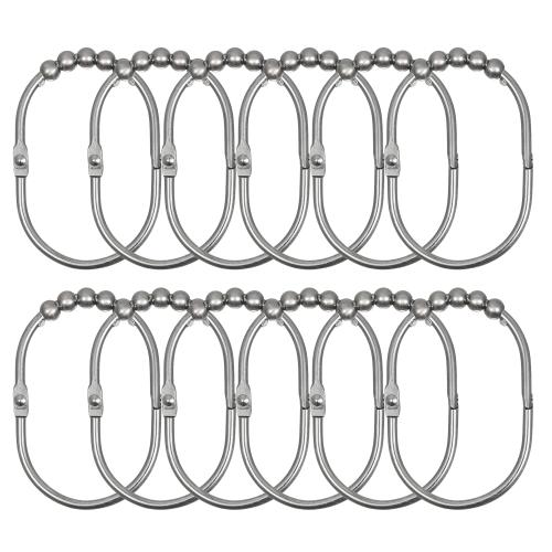 12pcs/set Shower Curtain Rings Hooks Rust-proof Stainless Iron Curtain Hooks Set Easy Sliding Ball Bearing Ring Hook