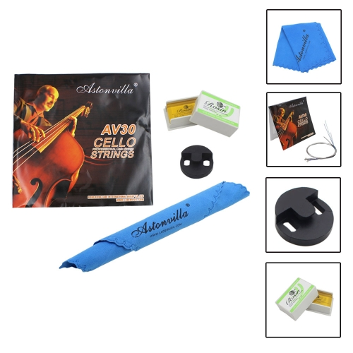 Cello 4-in-1 Accessory Kit Rosin Set of Strings Rubber Mute Cleaning Cloth