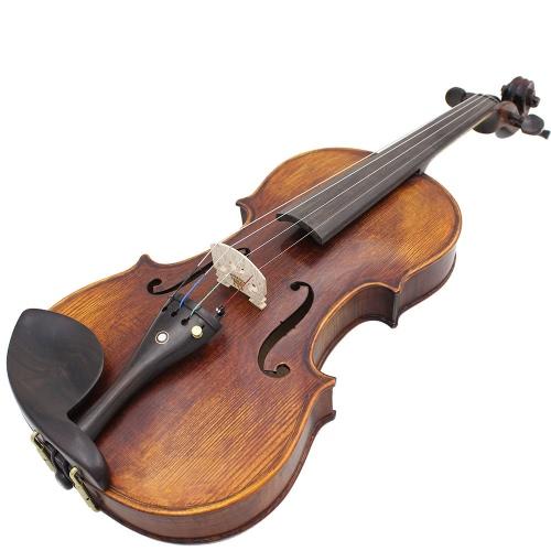 4/4 Pełnowymiarowe ręcznie robione drewno Drewniane materiały akustyczne Skrzypce skrzypcowe z torbą Tuner String Shoulder Rest String Cleaning Cloth Rosin Sordine