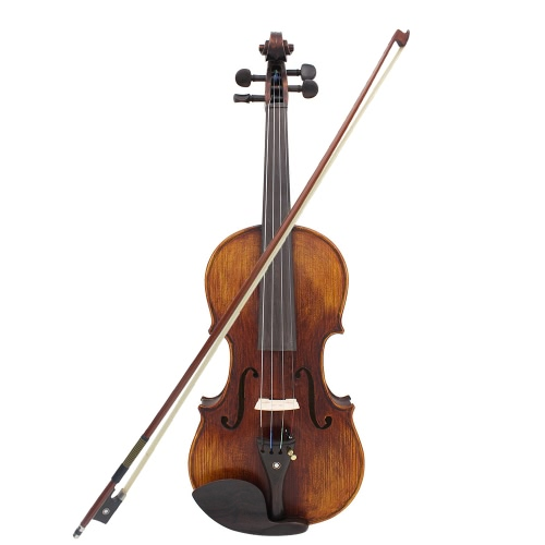 4/4 Full Size Handcrafted Solid Wood Acoustic Violin Fiddle with Carrying Case Tuner Shoulder Rest String Cleaning Cloth Rosin Sordine