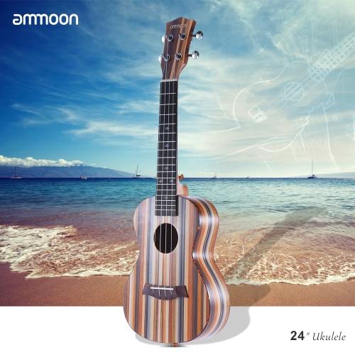 24 ammoon「アコースティック木製ソプラノウクレレウクレレウケ18フレット4弦Okoumeネックローズウッド指板弦楽器ミュージカルギフト