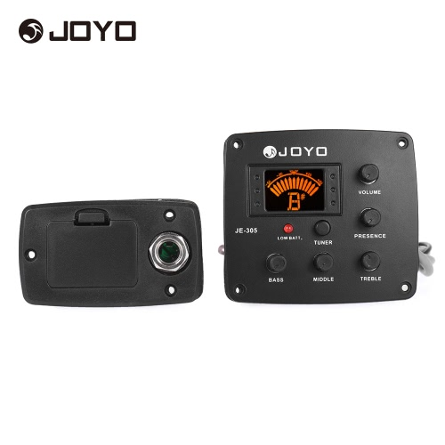 JOYO JE-305 Acoustic Guitar Piezo Pickup Preamp 4-Band EQ Equalizer Tuner System with LCD Display