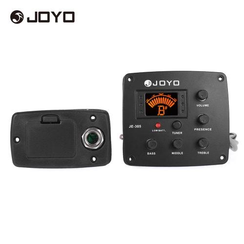 JOYO JE-305アコースティックギターピエゾピックアッププリアンプLCDディスプレイと4バンドEQイコライザーチューナーシステム