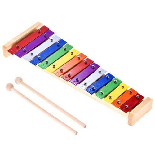 Instrumento musical de percusión de madera y aluminio Xilófono de Glockenspiel colorido